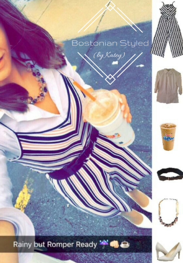 Street Style, Fashion, Style, Trends, Chic, Outfit Idea, Work Look, Spring Outfit Idea, Bostonian Styled (by Katey), Spring Fashion, OOTD, LOTD, What I Wore Today, WIWT, Look of the Day, Style Blogger, Outfit Inspiration, Dunkin Donuts, Snap Chat, Jumpsuit, Romper, Stripes, Navy Pink and White, Layered Look, White Collar Shirt, Statement Necklace, White Heels