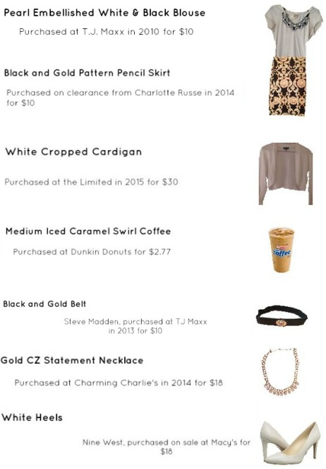Outfit Idea, Bostonian Styled (by Katey), Spring Fashion, OOTD, LOTD, What I Wore Today, WIWT, Look of the Day, Style Blogger, Outfit Inspiration, Dunkin Donuts, Snap Chat, Gold and Black, Pattern Pencil Skirt, White Cardigan, White Heels, Statement Necklace, Pearls, Bling