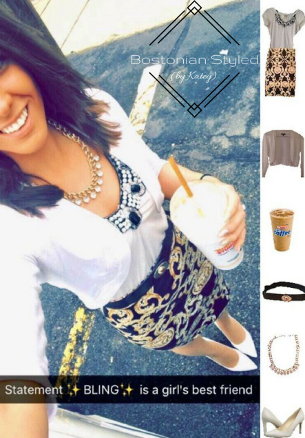 Street Style, Fashion, Style, Trends, Chic, Outfit Idea, Work Look, Spring Outfit Idea, Bostonian Styled (by Katey), Spring Fashion, OOTD, LOTD, What I Wore Today, WIWT, Look of the Day, Style Blogger, Outfit Inspiration, Dunkin Donuts, Snap Chat, Gold and Black, Pattern Pencil Skirt, White Cardigan, White Heels, Statement Necklace, Pearls, Bling