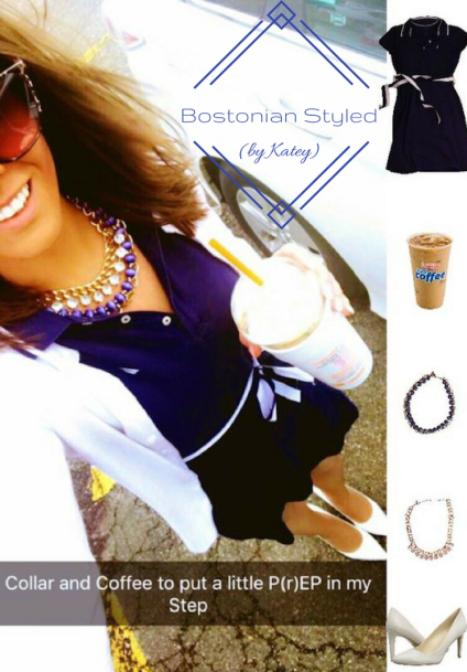 Street Style, Fashion, Style, Trends, Chic, Outfit Idea, Work Look, Spring Outfit Idea, Bostonian Styled (by Katey), Spring Fashion, OOTD, LOTD, What I Wore Today, WIWT, Look of the Day, Style Blogger, Outfit Inspiration, Dunkin Donuts, Snap Chat, Navy and White, Collar Shirt Dress, White Heels, Layered Statement Necklaces, White Cardigan, Preppy