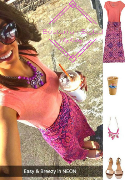 Street Style, Fashion, Style, Trends, Chic, Outfit Idea, Work Look, Spring Outfit Idea, Bostonian Styled (by Katey), Spring Fashion, OOTD, LOTD, What I Wore Today, WIWT, Look of the Day, Style Blogger, Outfit Inspiration, Dunkin Donuts, Snap Chat, Neon, Paisley Maxi Skirt, Metallic Sandals, Pink and Orange, Statement Necklace