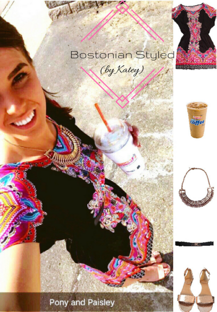Street Style, Fashion, Style, Trends, Chic, Outfit Idea, Work Look, Spring Outfit Idea, Bostonian Styled (by Katey), Spring Fashion, OOTD, LOTD, What I Wore Today, WIWT, Look of the Day, Style Blogger, Outfit Inspiration, Dunkin Donuts, Snap Chat, Paisley Sundress, Colorful, Black, Metallic Sandals, Gold Statement Necklace