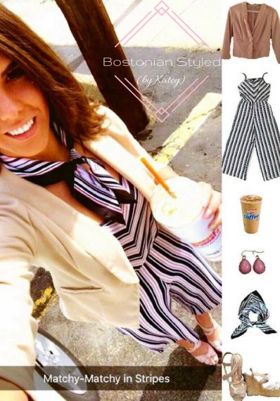 Street Style, Fashion, Style, Trends, Chic, Outfit Idea, Work Look, Spring Outfit Idea, Bostonian Styled (by Katey), Spring Fashion, OOTD, LOTD, What I Wore Today, WIWT, Look of the Day, Style Blogger, Outfit Inspiration, Dunkin Donuts, Snap Chat, Jumpsuit, Stripes, Silk Neck Scarf, Pink and Navy, Pink Wedges, Romper