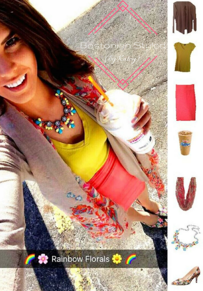 Street Style, Fashion, Style, Trends, Chic, Outfit Idea, Work Look, Spring Outfit Idea, Bostonian Styled (by Katey), Spring Fashion, OOTD, LOTD, What I Wore Today, WIWT, Look of the Day, Style Blogger, Outfit Inspiration, Dunkin Donuts, Snap Chat, Floral Scarf, Coral Pink Pencil Scarf, Floral Heels, Color-Blocking