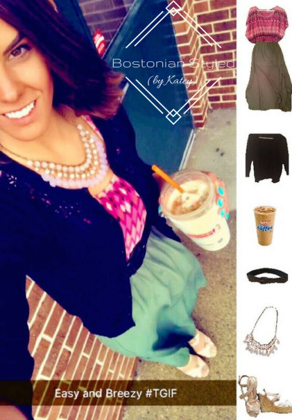Street Style, Fashion, Style, Trends, Chic, Outfit Idea, Work Look, Spring Outfit Idea, Bostonian Styled (by Katey), Spring Fashion, OOTD, LOTD, What I Wore Today, WIWT, Look of the Day, Style Blogger, Outfit Inspiration, Dunkin Donuts, Color-Blocking, Military Green and Light Pink, Military Green Maxi Skirt, Aztec Print, Pink Statement Necklace, Boho-Chic, Bohemian Style, Black Wedges