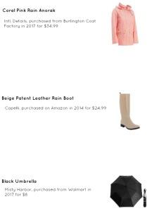 Spring Outerwear, Rainy Day Outfit Idea, Rain Coat, Coral Pink Anorak Burlington Coat Factory, Rubber Beige Rainboots Amazon Fashion, Black Umbrella Walmart