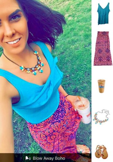 Street Style, Fashion, Style, Trends, Chic, Outfit Idea, Work Look, Spring Outfit Idea, Bostonian Styled (by Katey), bostonian_styled, Spring Fashion, OOTD, LOTD, What I Wore Today, WIWT, Look of the Day, Style Blogger, Outfit Inspiration, Dunkin Donuts, Neon Paisley Maxi Skirt TJ Maxx, Blue Tank Top Target, Multi-Color Jewel Embellished Sandals, Multi-Color Neon Statement Necklace, Boho-Chic