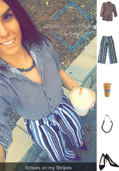 Street Style, Fashion, Style, Outfit Idea, Work Look, Outfit Inspiration, Bostonian Styled (by Katey), Pattern-Mixing, Navy and white Pin-stripe Collar Shirt TJ MAXX, Blue and White Wide-Leg Statement Pants Primark, Navy Blue Suede Pointed-Toe Pumps Primark