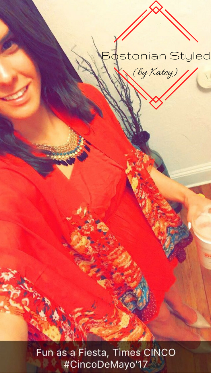 Street Style, Fashion, Style, Outfit Idea, Work Look, Outfit Inspiration, Bostonian Styled (by Katey), Red Floral Print Kimono Amazon Fashion, Blue and Green Beaded Statement Necklace Amazon Fashion, One-Shoulder Red Ruffle Dress Forever 21, Nude Pointed-Toe Heels A.N.A JCPenney