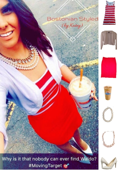 Street Style, Fashion, Style, Outfit Idea, Work Look, Outfit Inspiration, Bostonian Styled (by Katey), White Cropped Cardigan The Limited, White and Red Striped Tank Top Walmart, Red Pencil Skirt Forever 21, White Pointed Toe Heels Nine West, Gold CZ Statement Necklace Charming Charlie, Layered Pearl Statement Necklace JCPenney