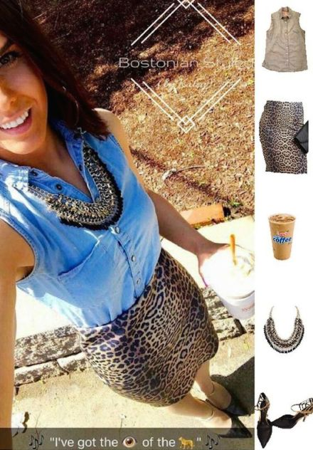 Street Style, Fashion, Style, Outfit Idea, Work Look, Outfit Inspiration, Bostonian Styled (by Katey), Chambray Collar Shirt Primark, Leopard Print Pencil Skirt Charlotte Russe, Black and Gold Braided Chain Metal Necklace Amazon Fashion, Black and Gold Pointed-Toe Heels Off Broadway Shoes
