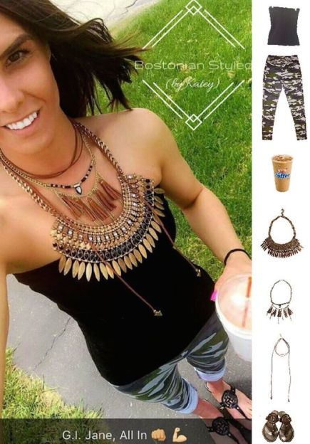 Street Style, Fashion, Style, Outfit Idea, Work Look, Outfit Inspiration, Bostonian Styled (by Katey), Camouflage Leggings Primark, Layered Gold Metal Statement Necklaces Walmart, Brown Leather Wrap Choker Walmart, Black Patent Leather Sandals Payless, Black Tube Top Forever 21