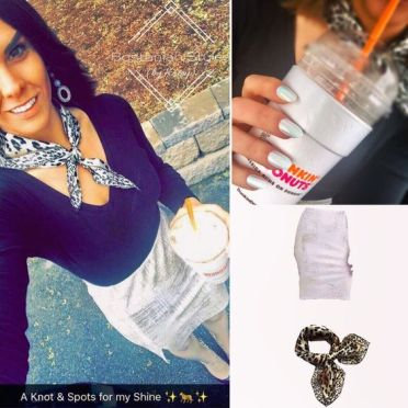 Street Style, Fashion, Style, Outfit Idea, Work Look, Outfit Inspiration, Bostonian Styled (by Katey), White Foil Knit Pencil Skirt Charlotte Russe, Black V-Neck Long-Sleeve Shirt Merona Target, Black and Gold Pointed-Toe Heels Fergie OffBroadway Shoes, Leopard Print Silk Neck Scarf TRENTON Amazon Fashion
