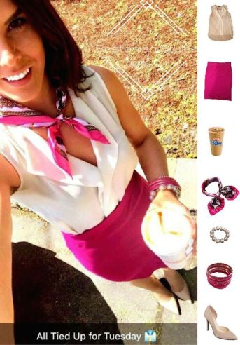 Street Style, Fashion, Style, Outfit Idea, Work Look, Outfit Inspiration, Bostonian Styled (by Katey), Sheer White Sleeveless Blouse Primark, Magenta Pencil Skirt Forever 21, Nude Pointed-Toe Heels A.N.A JCPenney, Pink White and Gold Anchor Print Silk Neck Scarf TRENTON Amazon Fashion
