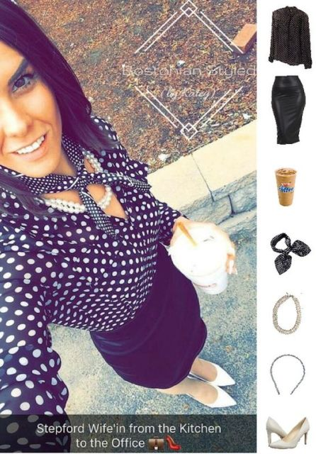 Street Style, Fashion, Style, Outfit Idea, Work Look, Outfit Inspiration, Bostonian Styled (by Katey), Black and White Polka Dot Collar Shirt Charlotte Russe , Black Leather Pencil Skirt Amazon Fashion, Black and White Polka Dot Silk Neck Scarf TRENTON Amazon Fashion, Layered Pearl Statement Necklace J.C.Penney, White Pointed Toe Heels Nine West