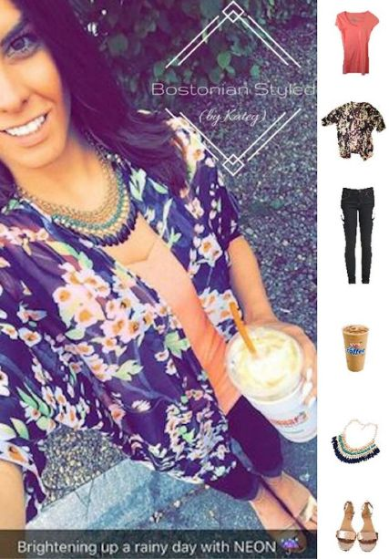 Street Style, Fashion, Style, Outfit Idea, Work Look, Outfit Inspiration, Bostonian Styled (by Katey), Navy Blue and Neon Floral Print Kimono Amazon Fashion, Neon Orange V-Neck T No Boundaries Walmart, Dark Wash Denim Skinny Jeans Forever 21, Metallic Bronze Wedge Strappy Sandals J.CREW, Blue and Green Beaded Statement Necklace Amazon Fashion