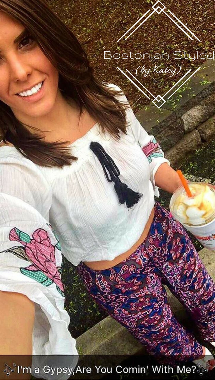 Street Style, Fashion, Style, Outfit Idea, Work Look, Outfit Inspiration, Bostonian Styled (by Katey), White Rose Embroidered Peasant Crop Top Marshalls, Wide Legged Purple Paisley Statement Pants TJ Maxx, White Strappy Wedges Charlotte Russe