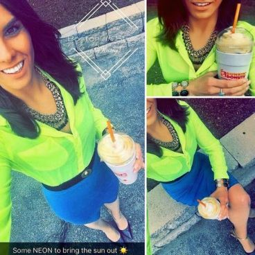 Street Style, Fashion, Style, Outfit Idea, Work Look, Outfit Inspiration, Bostonian Styled (by Katey), Neon Yellow Collar Shirt American Eagle, Turquoise Blue Pencil Skirt Forever 21, Black and Gold Braided Chain Statement Necklace, Black and Gold Pointed Toe Heels Off-Broadway Shoes