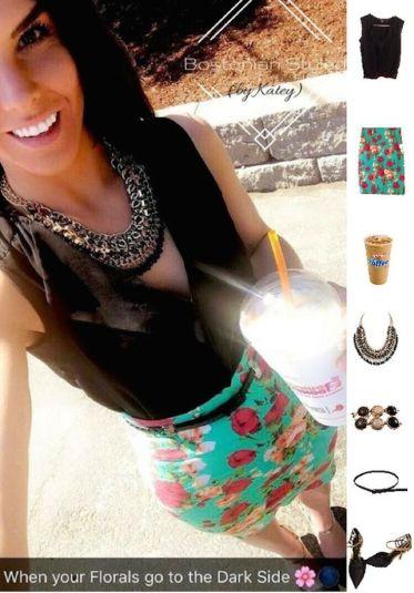 Color-Blocked Floral Print Pencil Skirt Look