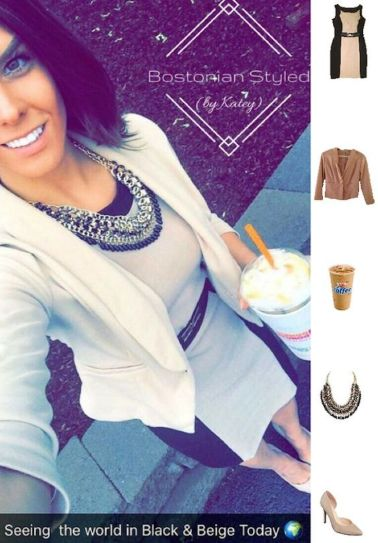 Street Style, Fashion, Style, Outfit Idea, Work Look, Outfit Inspiration, Bostonian Styled (by Katey), Beige and Black Color-Blocked Sheath Dress Amy Byer, Beige Blazer Charlotte Russe, Nude Pointed-Toe Heels A.N.A JCPenney, Black and Gold Braided Chain Statement Necklace Amazon Fashion