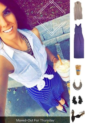Street Style, Fashion, Style, Outfit Idea, Work Look, Outfit Inspiration, Bostonian Styled (by Katey), Sleeveless Cobalt Blue and White Chevron Print Maxi Dress by Merona at Target, Black and Gold Pointed-Toe Heels Off-Broadway Shoes, Black and Gold Braided Chain Statement Necklace Amazon Fashion, White Sleeveless Collar Shirt Old Navy, Black and Gold Statement Earrings Walmart