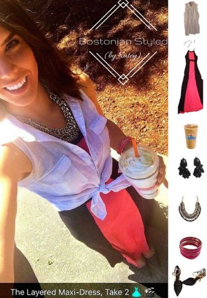 Street Style, Fashion, Style, Outfit Idea, Work Look, Outfit Inspiration, Bostonian Styled (by Katey), Black and Pink Color-Blocked Halter Maxi Dress TJ Maxx, Black and Gold Pointed-Toe Heels Off-Broadway Shoes, Black and Gold Braided Chain Statement Necklace Amazon Fashion, White Sleeveless Collar Shirt Old Navy, Black and Gold Statement Earrings Walmart, Pink and Gold Metal Bangles Forever 21