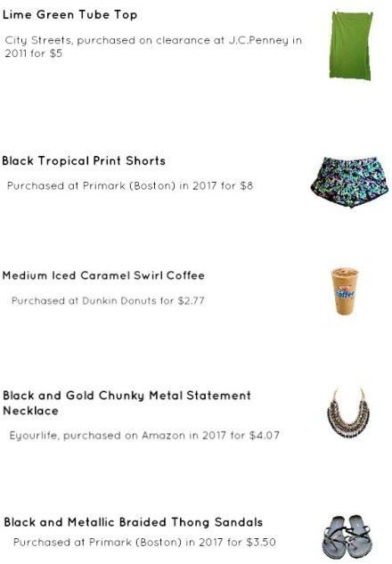 Street Style, Fashion, Style, Outfit Idea, Work Look, Outfit Inspiration, Bostonian Styled (by Katey), Black Tropical Print Shorts Primark, Lime Green Tube Top City Streets JCPenny, Black and Metallic Braided Thong Flip Flops Primark, Black and Gold Braided Chain Statement Necklace Amazon Fashion