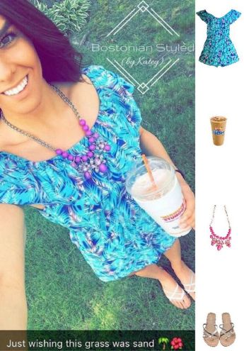 Street Style, Fashion, Style, Outfit Idea, Summer Style, Outfit Inspiration, Bostonian Styled (by Katey), Blue and Purple Tropical Print Romper Primark, White and Metallic Braided Thong Flip Flops Primark, Orchid Purple Statement Necklace Charming Charlie's