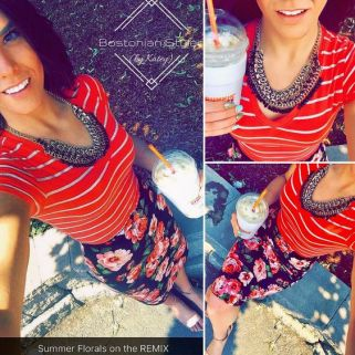Street Style, Fashion, Style, Outfit Idea, Summer Style, Outfit Inspiration, Bostonian Styled (by Katey), Pink and Black Floral Print Pencil Skirt Charlotte Russe, Salmon and White Striped V-neck T Wet Seal, Metallic Bronze Strappy Wedge Sandals J. Crew, Black and Gold Braided Chain Statement Necklace Amazon Fashion