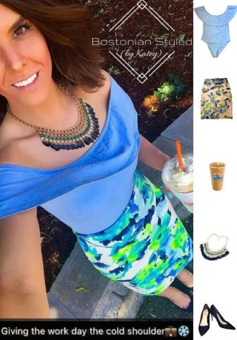 Street Style, Fashion, Style, Outfit Idea, Summer Style, Outfit Inspiration, Bostonian Styled (by Katey), Neon Floral Print Pencil Skirt Charlotte Russe, Light Blue Off-The-Shoulder Ruffle Body Suit Primark, Navy Blue Suede Pointed-Toe Heels Primark, Blue and Green Beaded Statement Necklace Amazon Fashion