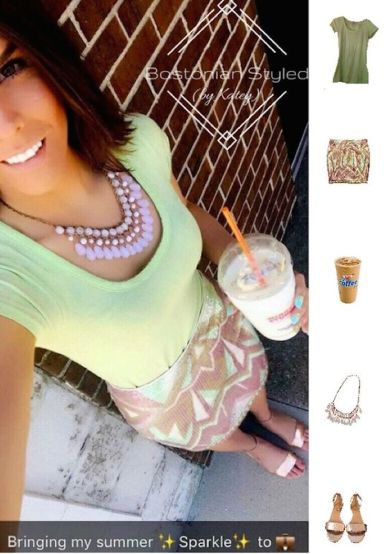 Street Style, Fashion, Style, Outfit Idea, Summer Style, Outfit Inspiration, Bostonian Styled (by Katey), Actec Print Sequin Pencil Skirt Decree J.C.Penney, Metallic Bronze Strappy Wedge Sandals J. Crew, Light Pink Beaded Statement Necklace Charlotte Russe