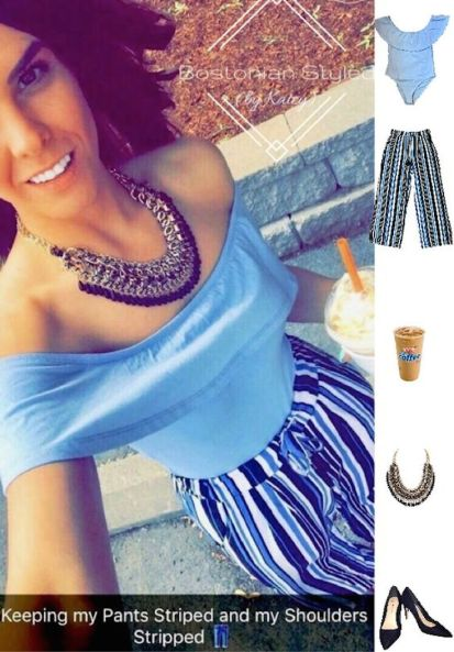 Street Style, Fashion, Style, Outfit Idea, Summer Style, Outfit Inspiration, Bostonian Styled (by Katey), Light Blue Off-The-Shoulder Ruffle Body Suit Primark, Navy Blue Suede Pointed-Toe Heels Primark, Black and Gold Braided Chain Statement Necklace Amazon Fashion, Blue White and Black Striped Statement Pants Primark