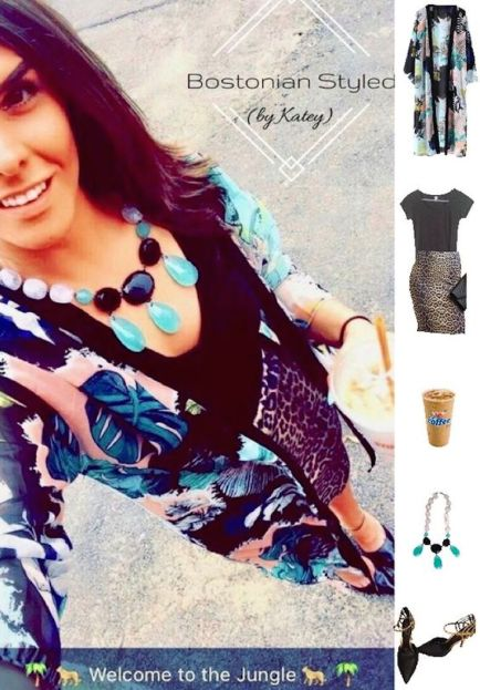Street Style, Fashion, Style, Outfit Idea, Summer Style, Outfit Inspiration, Bostonian Styled (by Katey), Long Tropical Print Kimono Amazon Fashion, Leopard Print Pencil Skirt Charlotte Russe, Mint Black and White Statement Necklace Charming Charlie's, Black and Gold Pointed Toe Heels Off Broadway Shoes, Black Short-Sleeve V-Neck T Wet Seal