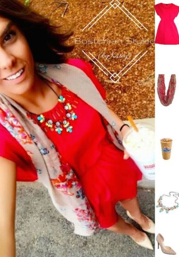 Colorful Scarf & Statement Necklace Paired with Coral Cut-Out Dress