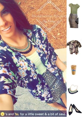 Street Style, Fashion, Style, Outfit Idea, Summer Style, Outfit Inspiration, Bostonian Styled (by Katey), Navy and Neon Floral Print Kimono Amazon Fashion, Blue and Green Beaded Statement Necklace Amazon Fashion, Light Green Crew Neck T Wet Seal, Leopard Print Pencil Skirt Charlotte Russe, Navy Blue Suede Pointed-Toe Heels Primark, Pattern-Mixing
