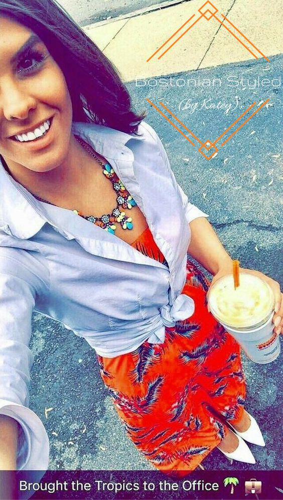 Street Style, Fashion, Style, Outfit Idea, Work Look, Outfit Inspiration, Bostonian Styled (by Katey), Strapless Orange Tropical Print Maxi Dress Charlotte Russe, White Pointed-Toe Heels Nine West, Multi-Color Statement Necklace Amazon Fashion, White Collar Shirt Covington