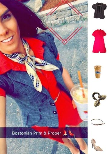 Street Style, Fashion, Style, Outfit Idea, Summer Style, Outfit Inspiration, Bostonian Styled (by Katey), Red Collar Shirt Dress Forever 21, Grey Fitted Short Sleeve Blazer B. Wear JCPenney, Nude Pointed Toe Heels A.N.A JCPenney, Beige Plaid Silk Neck Scarf Amazon Fashion, Preppy