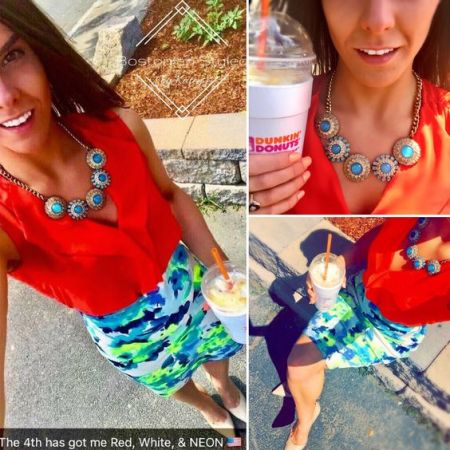 Street Style, Fashion, Style, Outfit Idea, Summer Style, Outfit Inspiration, Bostonian Styled (by Katey), Red Sleeveless Chiffon Blouse Primark, Neon Floral Print Pencil Skirt Charlotte Russe, Nude Pointed Toe Heels A.N.A JCPenney, Gold and Aqua Blue Statement Necklace Charming Charlie, Color-Blocking