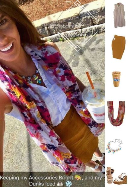 Street Style, Fashion, Style, Outfit Idea, Summer Style, Outfit Inspiration, Bostonian Styled (by Katey), White and Colorful Floral Print Scarf, Burnt Brown Pencil Skirt Forever 21, Neon Multi-Color Statement Necklace Amazon Fashion, White Sleeveless Collar Shirt Old Navy, White Strappy Wedges Charlotte Russe