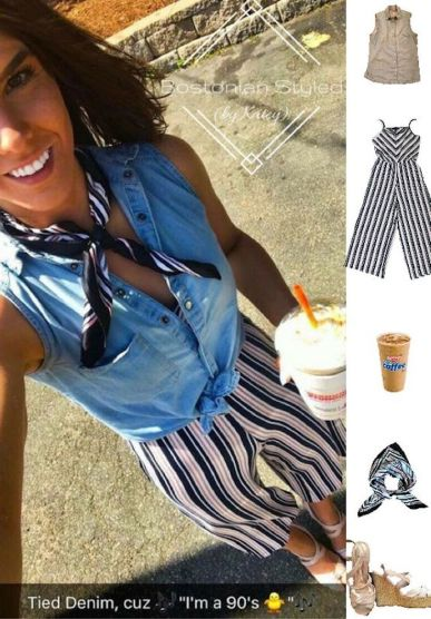 Street Style, Fashion, Style, Outfit Idea, Summer Style, Outfit Inspiration, Bostonian Styled (by Katey), Pink and Navy Striped Jumpsuit Primark , Chambray Sleeveless Collar Shirt Primark, Pink and Black Stripe Silk Neck Scarf Primark, White Strappy Wedges Charlotte Russe