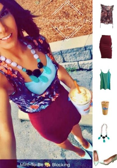 Street Style, Fashion, Style, Outfit Idea, Summer Style, Outfit Inspiration, Bostonian Styled (by Katey), Burgundy Pencil Skirt Forever 21, Purple Floral Print Blouse TJ Maxx, Mint Green Cami Forever 21, Mint Green Pointed-Toe Heels ASOS, Mint Green White and Black Statement Necklace Charming Charlie, Color-blocking