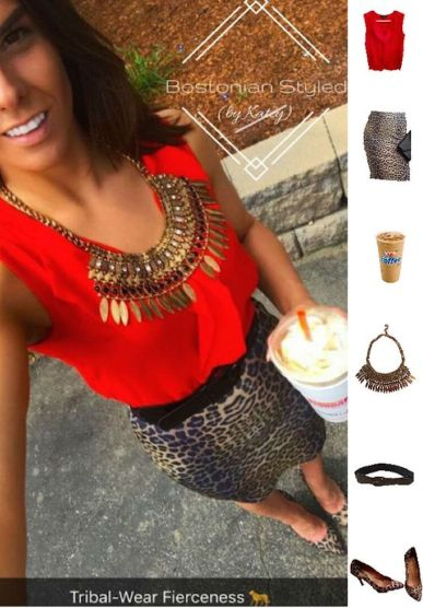 Street Style, Fashion, Style, Outfit Idea, Summer Style, Outfit Inspiration, Bostonian Styled (by Katey), Red Chiffon Sleeveless Blouse Primark, Leopard Print Pencil Skirt Charlotte Russe, Leopard Print Pointed-Toe Heels Primark, Chunky Black and Gold Metal Statement Necklace Walmart