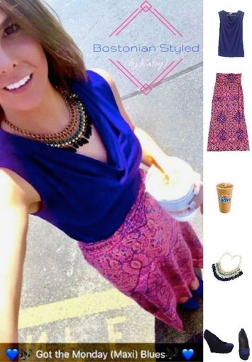 Street Style, Fashion, Style, Outfit Idea, Summer Style, Outfit Inspiration, Bostonian Styled (by Katey), Royal Blue Cowl Neck Sleeveless Blouse Banana Republic, Royal Blue Wedges Payless Shoe-Source, Neon Pink Paisley Maxi Skirt Cynthia Rowley TJ Maxx, Beaded Blue and Green Statement Necklace Amazon Fashion, Color-Blocking