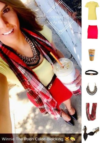 Street Style, Fashion, Style, Outfit Idea, Summer Style, Outfit Inspiration, Bostonian Styled (by Katey), Light Yellow Crew Neck T, Red and Black Plaid Scarf Charming Charlie's, Red Pencil Skirt Forever 21, Black and Gold Pointed-Toe Heels Off-Broadway Shoes Black and Gold Braided Metal Statement Necklace Statement Necklace Amazon Fashion, Color-Blocking