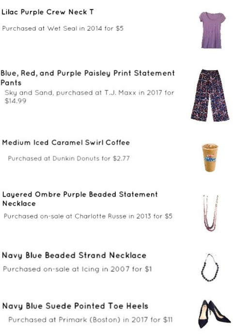 Street Style, Fashion, Style, Outfit Idea, Summer Style, Outfit Inspiration, Bostonian Styled (by Katey), Lavender Crew Neck T, Purple Paisley Statement Pants TJ Maxx, Navy Blue Pointed-Toe Wedges, Ombre Purple Layered Beaded Necklace Charlotte Russe, Navy Blue Beaded Statement Necklace Icing