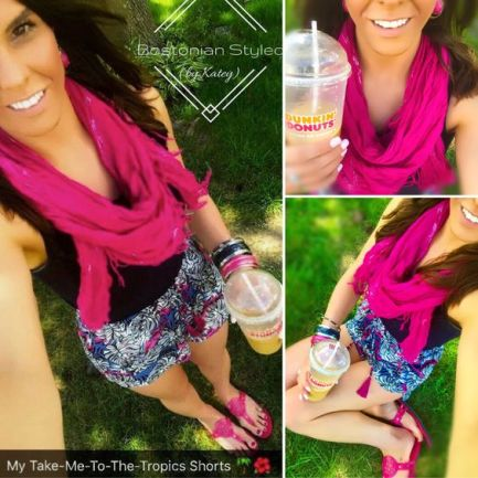 Street Style, Fashion, Style, Outfit Idea, Summer Style, Outfit Inspiration, Bostonian Styled (by Katey), Pink and Blue Tropical Print Shorts Primark, Navy Blue Floral Embellished Tank Premise at TJ Maxx, Pink Thong Sandals Payless Shoe-Source, Pink and Silver Scarf, Pink and Gold Metal Bangle Bracelets Forever 21, Pink and Gold Statement Earrings Charming Charlie's