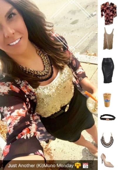 Street Style, Fashion, Style, Outfit Idea, Summer Style, Outfit Inspiration, Bostonian Styled (by Katey), ), Gold Sequin Tank Top EXPRESS, Black and Pink Floral Print Kimono Amazon Fashion, Black and Gold Braided Metal Statement Necklace Amazon Fashion , Nude Pointed-Toe Heels A.N.A JCPenney, Black Faux Leather Pencil Skirt Amazon Fashion