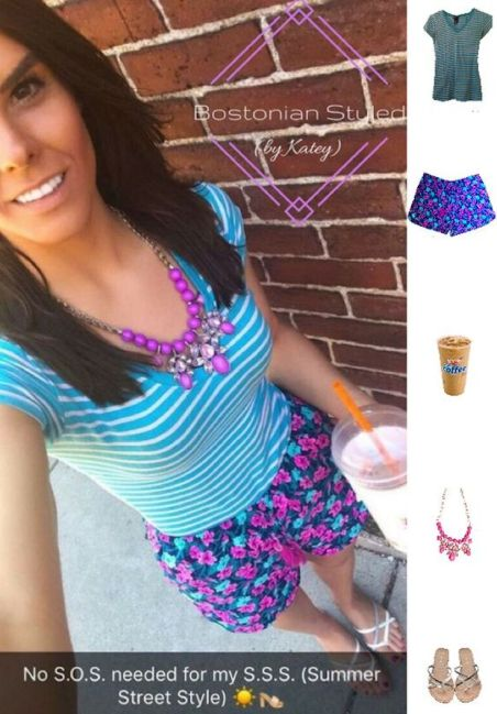Floral Print Shorts Outfit Idea