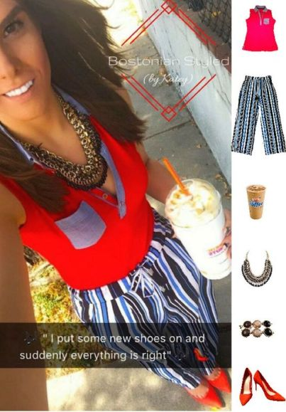 Street Style, Fashion, Style, Outfit Idea, Summer Style, Outfit Inspiration, Bostonian Styled (by Katey), Blue Black and White Striped Statement Pants Primark, Black and Gold Braided Metal Statement Necklace Amazon Fashion, Red Suede Pointed-Toe Heels Primark, Red Sleeveless Chambray Collar Tank Nautica