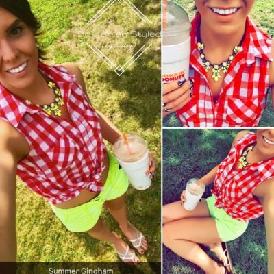 Street Style, Fashion, Style, Outfit Idea, Summer Style, Outfit Inspiration, Bostonian Styled (by Katey), Neon Yellow Shorts Arizona Jeans JCPenney, Red and White Gingham Sleeveless Collar Shirt Faded Gloray at Walmart, Yellow Statement Necklace Amazon Fashion, White and Silver Braided Thong Sandals Primark